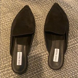 NEW Black Suede Slip On Flats Pretty Shoes